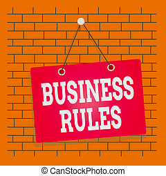 Text sign showing Business Rules. Conceptual photo a ...