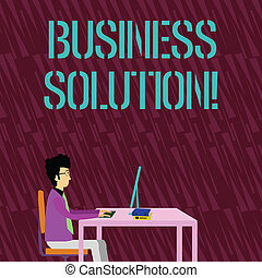 Text sign showing Business Solution. Conceptual photo ideas used to help a company achieve its objectives Businessman Sitting Straight on Chair Working on Computer and Books on Table.
