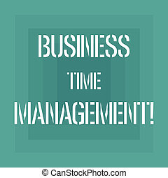 Text sign showing Business Time Management. Conceptual photo organizing and planning how to divide your time Geometrical Shape Multiple Halftone Squares Overlaying Like Tunnel photo.