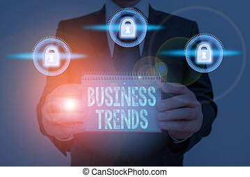 Text sign showing Business Trends. Conceptual photo a general change in the way business is developing.