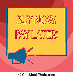 Text sign showing Buy Now Pay Later. Conceptual photo Credit to purchase things payment time after buying Megaphone Sound icon Outlines Blank Square Loudspeaker Text Space photo.