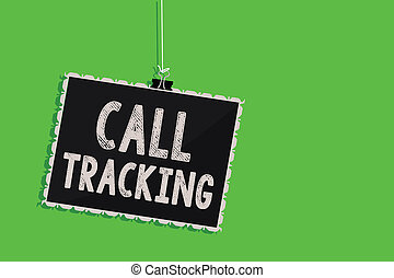 Text sign showing Call Tracking. Conceptual photo Organic search engine Digital advertising Conversion indicator Hanging blackboard message communication information sign green background.