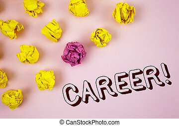 Text sign showing Career Motivational Call. Conceptual photo Finding your dream job with proper guidance written on plain Pink background Crumpled Paper Balls next to it.
