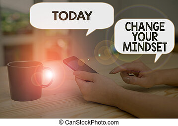 Text sign showing Change Your Mindset. Business photo text replace your beliefs way of thinking mental path