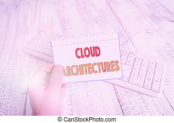 Text sign showing Cloud Architectures. Conceptual photo Various Engineered Databases Softwares Applications man holding colorful reminder square shaped paper white keyboard wood floor.