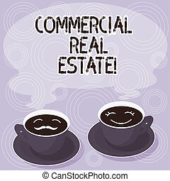 Text sign showing Commercial Real Estate. Conceptual photo property that is used solely for business purposes Sets of Cup Saucer for His and Hers Coffee Face icon with Blank Steam.