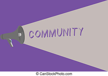 Text sign showing Community. Conceptual photo group living...