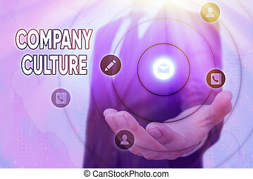 Text sign showing Company Culture. Business photo text The environment and elements in which employees work