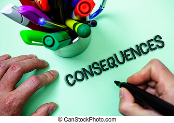 Text sign showing Consequences. Conceptual photo Result...