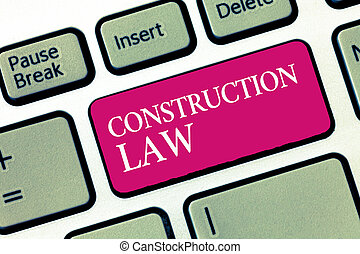 Text sign showing Construction Law. Conceptual photo deals with matters relating to building and related fields