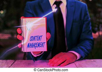 Text sign showing Content Management. Conceptual photo ...