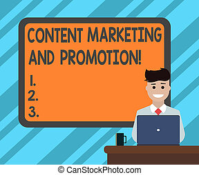 Text sign showing Content Marketing And Promotion. Conceptual photo Online social media modern advertising Blank Bordered Board behind Man Sitting Smiling with Laptop Mug on Desk.