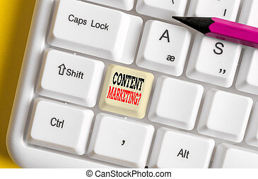 Text sign showing Content Marketing Question. Conceptual photo involves creation and sharing of online material White pc keyboard with empty note paper above white background key copy space.