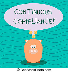 Text sign showing Continuous Compliance. Conceptual photo proactively maintaining a safe health care environment Color Speech Bubble with Gold Euro Coins on its Tail Pointing to Piggy Bank.