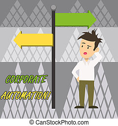 Text sign showing Corporate Automation. Conceptual photo automating key processes through computing technology Man Confused with the Road Sign Arrow Pointing to Opposite Side Direction.