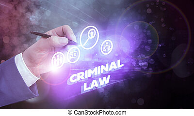 Text sign showing Criminal Law. Business photo showcasing legal system which relates to punishing those commits crime