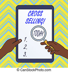 Text sign showing Cross Selling. Conceptual photo to sell complementary products to an existing customer.