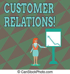 Text sign showing Customer Relations. Conceptual photo approach to analysisage a company s is interaction with customer Businesswoman Holding Stick Pointing to Chart of Arrow Upward on Whiteboard.