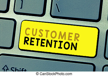 Text sign showing Customer Retention. Conceptual photo Keeping loyal customers Retain many as possible