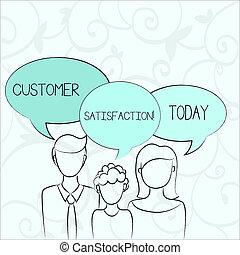 Text sign showing Customer Satisfaction. Conceptual photo Measure of customers fulfillment from a firm Family of One Child Between Father and Mother and Their Own Speech Bubble.