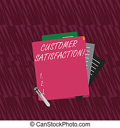 Text sign showing Customer Satisfaction. Conceptual photo Measure of customers fulfillment from a firm Colorful Lined Paper Stationery Partly into View from Pastel Blank Folder.