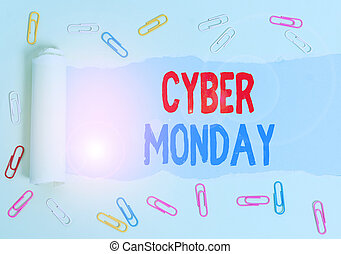 Text sign showing Cyber Monday. Conceptual photo Monday after the Thanksgiving holiday Online shopping day.