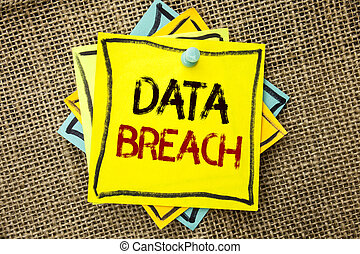 Text sign showing Data Breach. Conceptual photo Stolen Cybercrime Information Hacking Security Malicious Crack written on Sticky Note Paper attached to jute background with Thumbpin on it.