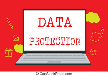 Text sign showing Data Protection. Conceptual photo Protect IP addresses and personal data from harmful software
