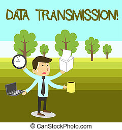 Text sign showing Data Transmission. Conceptual photo...