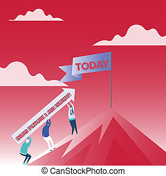 Text sign showing Dear Future I Am Ready. Conceptual photo suitable state for action or situation being fully prepared People Holding Arrow Going Up the Mountain. Blank Banner on Pole at the Peak.