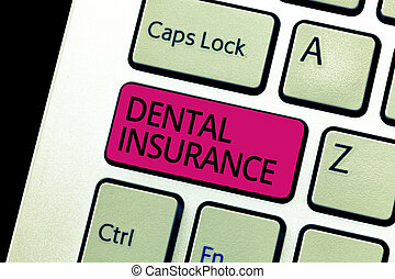 Text sign showing Dental Insurance. Conceptual photo form of health designed to pay portion or full of costs