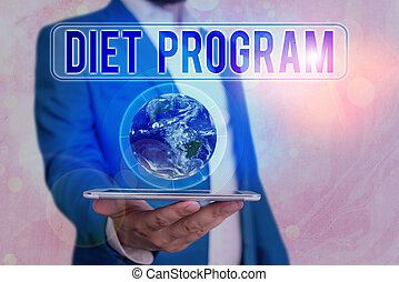 Text sign showing Diet Program. Conceptual photo practice of eating food in a regulated and supervised fashion Elements of this image furnished by NASA.