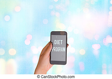 Text sign showing Diet Program. Conceptual photo practice of eating food in a regulated and supervised fashion.