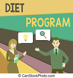 Text sign showing Diet Program. Conceptual photo practice of eating food in a regulated and supervised fashion Business Partners Colleagues Jointly Seeking Problem Solution Generate Idea.