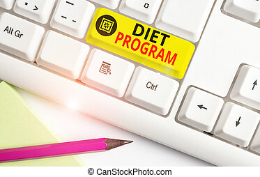 Text sign showing Diet Program. Conceptual photo practice of eating food in a regulated and supervised fashion White pc keyboard with empty note paper above white background key copy space.