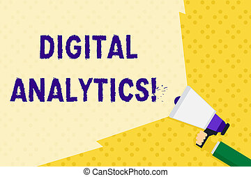 Text sign showing Digital Analytics. Conceptual photo the analysis of qualitative and quantitative data Hand Holding Megaphone with Blank Wide Beam for Extending the Volume Range.