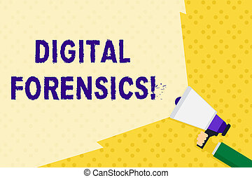 Text sign showing Digital Forensics. Conceptual photo investigation of material found in digital devices Hand Holding Megaphone with Blank Wide Beam for Extending the Volume Range.