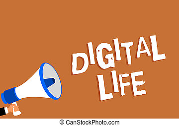Text sign showing Digital Life. Conceptual photo Living in a world interconnected through Internet Multimedia Man holding megaphone loudspeaker orange background message speaking loud.