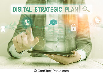 Text sign showing Digital Strategic Plan. Conceptual photo creat schedule for marketing product or brand Female human wear formal work suit presenting presentation use smart device.