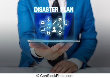 Text sign showing Disaster Plan. Conceptual photo Respond to Emergency Preparedness Survival and First Aid Kit.