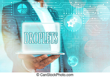Text sign showing Droplets. Conceptual photo very small drop...