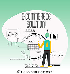 Text sign showing E Commerce Solution. Conceptual photo Software used by business in selling products online Man Standing Holding Pen Pointing to Chart Diagram with SEO Process Icons.