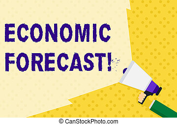Text sign showing Economic Forecast. Conceptual photo attempting to predict the future condition of the economy Hand Holding Megaphone with Blank Wide Beam for Extending the Volume Range.