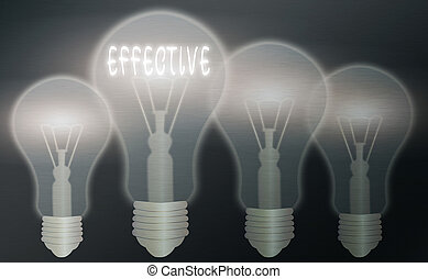 Text sign showing Effective. Business photo text equal to the rate of simple interest that yields the same amount Realistic colored vintage light bulbs, idea sign solution thinking concept