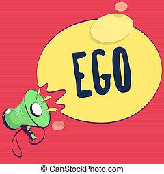 Text sign showing Ego. Conceptual photo Sense of selfesteem ...