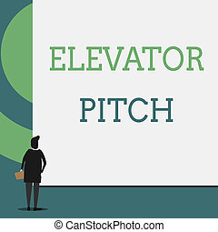 Text sign showing Elevator Pitch. Conceptual photo A persuasive sales pitch Brief speech about the product Back view young woman watching blank big rectangle. Geometrical background.