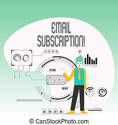 Text sign showing Email Subscription. Business photo text option that allows visitors to receive updates via email Man Standing Holding Pen Pointing to Chart Diagram with SEO Process Icons