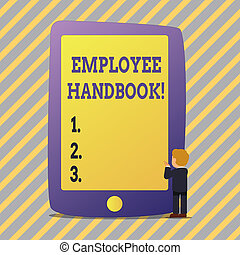 Text sign showing Employee Handbook. Conceptual photo Document Manual Regulations Rules Guidebook Policy Code.