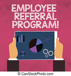 Text sign showing Employee Referral Program. Conceptual photo strategy work encourage employers through prizes.