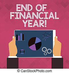 Text sign showing End Of Financial Year. Conceptual photo Taxes time accounting June database cost Sheets.